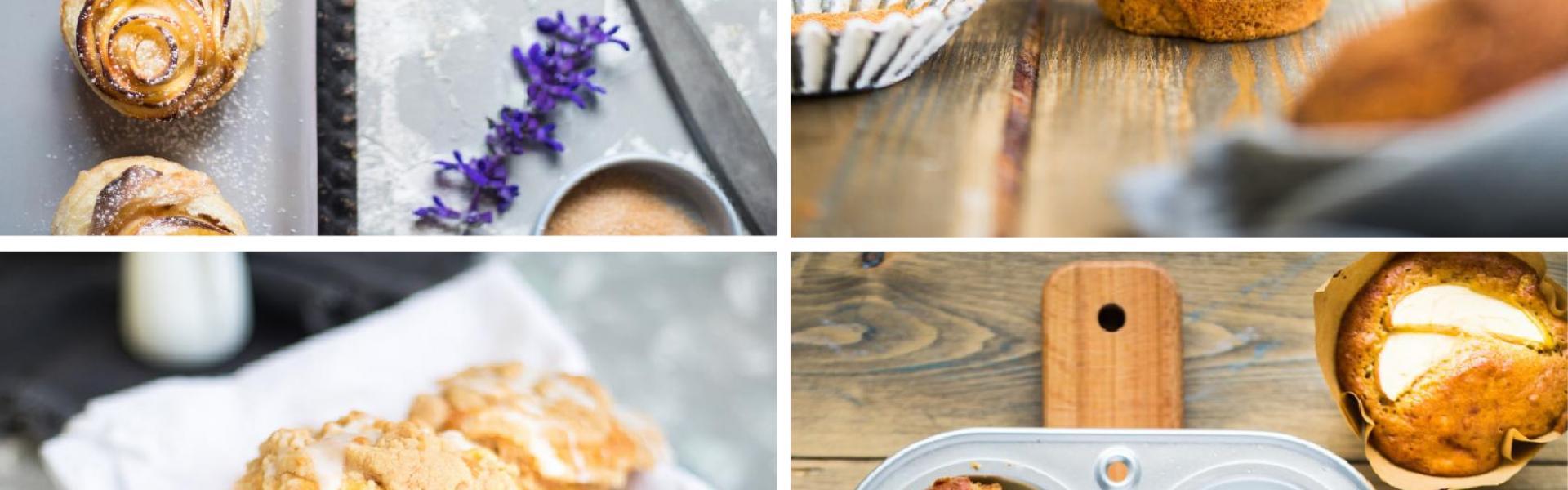 Vier Bilder mit verschiedenen Apfelmiuffins inn einem Bild zusammengefügt.