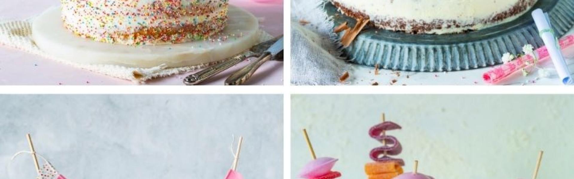 Collage aus vier Deko-Elementen zum Kuchendekorieren.