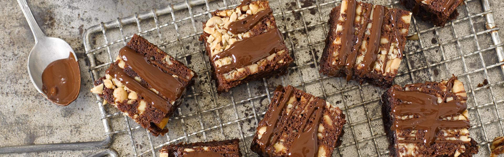 Mehrere Erdnuss-Brownies mit Schokoguss auf einem Kuchengitter.