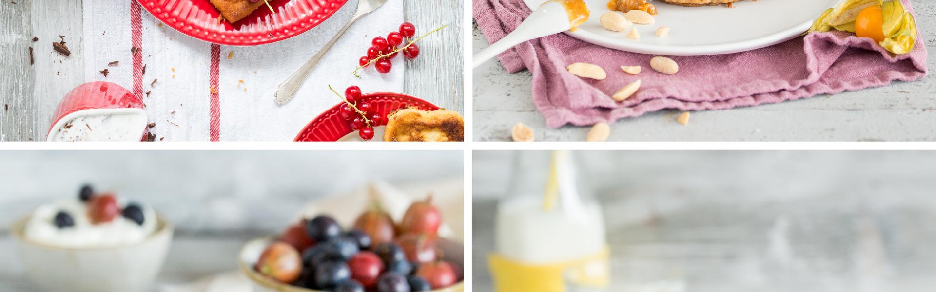 Vier verschiedene Bilder zu Low Carb Pfannkuchen in einem Bild vereint.