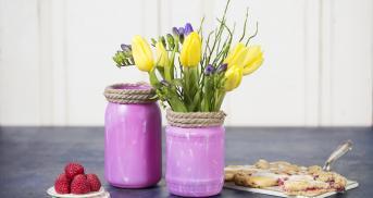 DIY Blumenvase aus Einmachglas