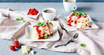 Erdbeerlasagne mit weißer Schokolade