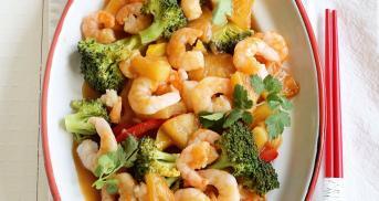 Garnelen süß-sauer mit Gemüse im Cookit