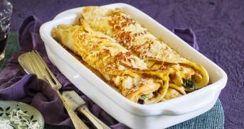 Ofenpfannkuchen mit Spinat und Gorgonzola