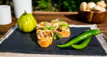 Pilz-Bruschetta mit Frischkäse