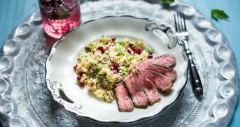 Couscous Salat mit Steakstreifen