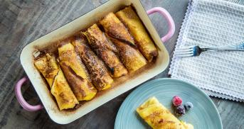 Vanillecreme-Crêpes aus dem Ofen