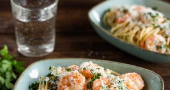 Spaghetti mit Scampi und Weißweinsoße