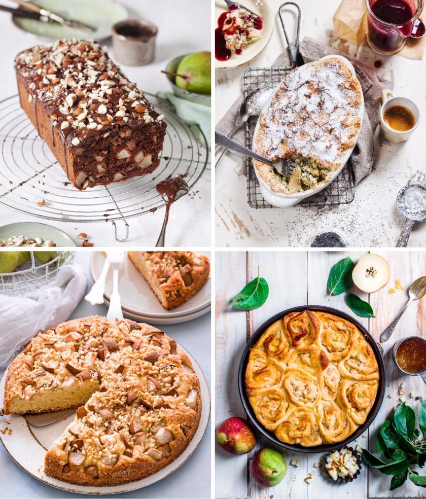 Vier Bilder von Birnenkuchen in einem Bild vereint.