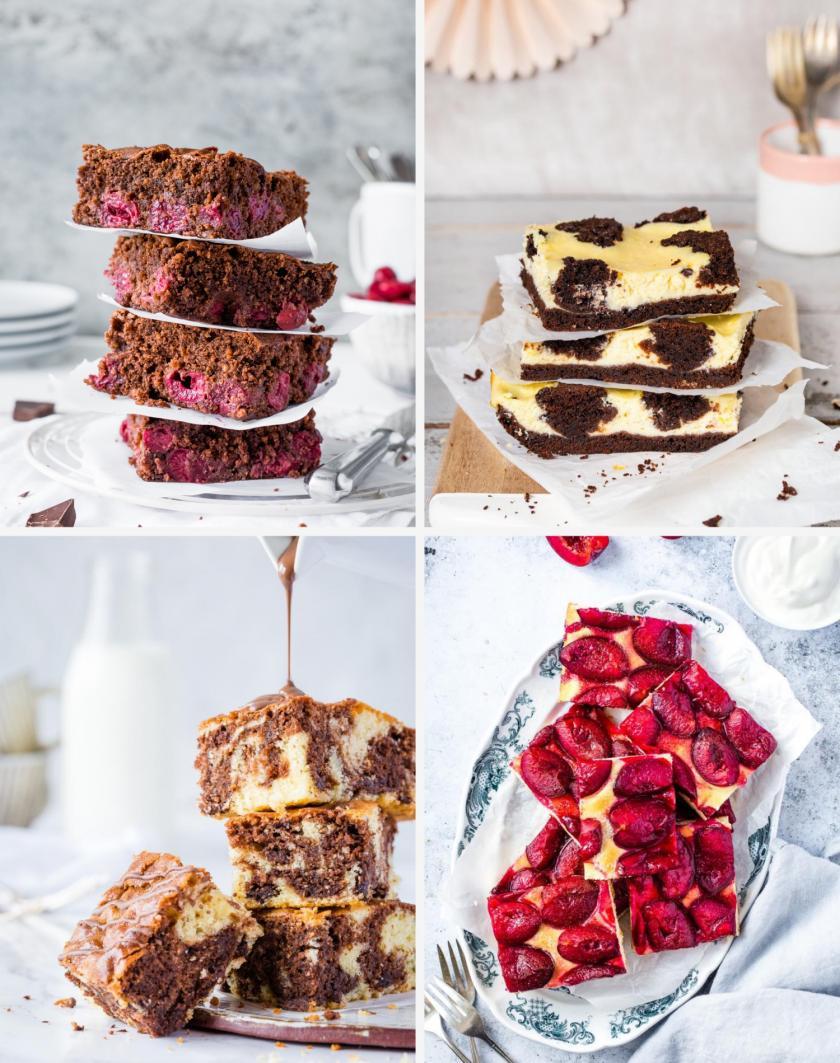 Vier verschiedene Blechkuchen auf einem Bild.