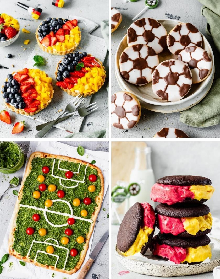 Collage aus vier Fußball-Snacks