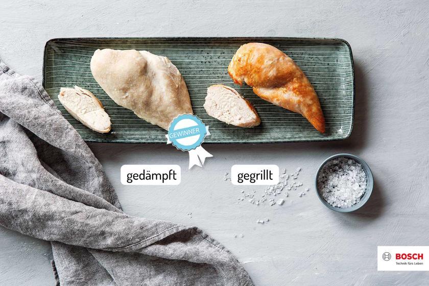 Hähnchenbrust im Ofen, Tür wird geöffnet.