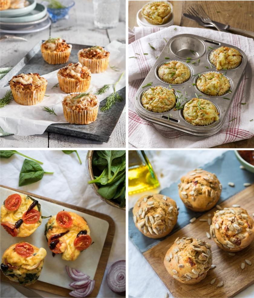 Verschiedene Variationen herzhafter Muffins in einem Bild zusammengefügt.