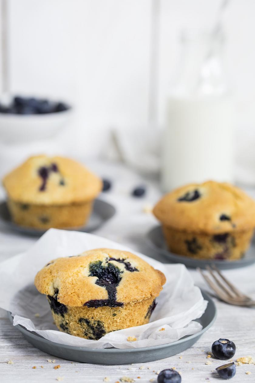 Blaubeermuffins auf Tellerchen angerichtet-