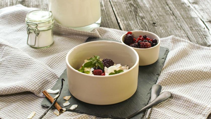 Low Carb Porridge in Schale angerichtet.