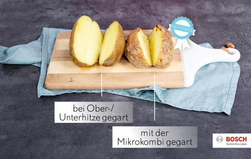 Zwei Kumpir im Vergleich: links mit Ober-/Unterhitze gebacken, rechts mit der Mikrokombi.