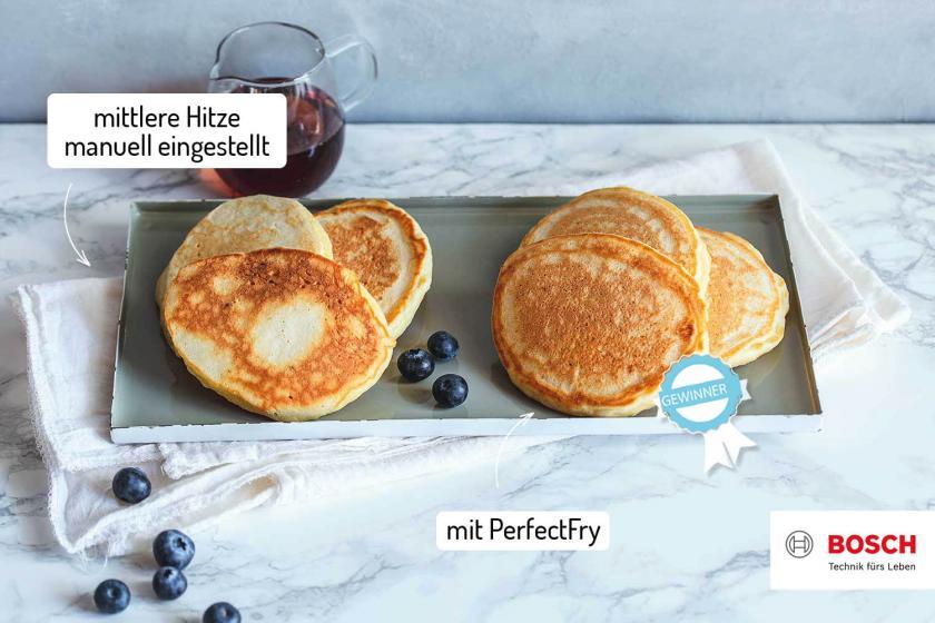 Fluffige Pancakes im Vergleich auf einem Teller.