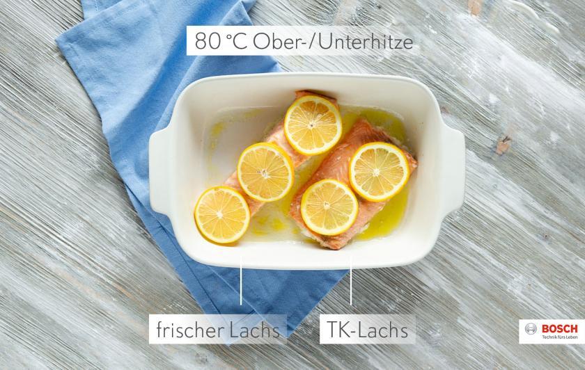Frischer Lachs und TK-Lachs im Vergleich bei 80°C Ober-/Unterhitze