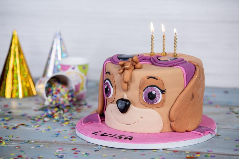 Hunde-Motivtorte mit Kerzen Geburtstagshütchen im Hintergrund