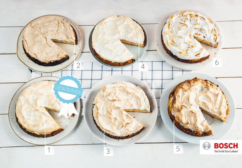 6 Rhabarberkuchen mit Baiser in unterschiedenen Backarten im Vergleich