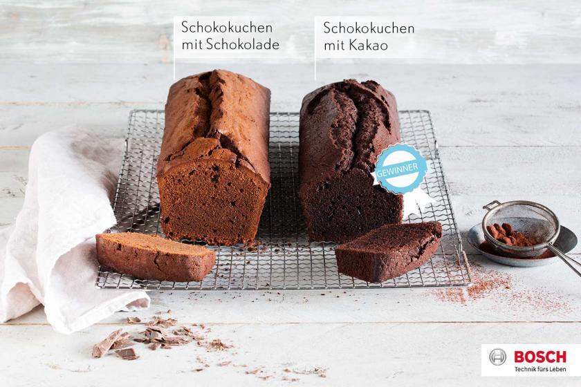 Schokokuchen mit Kakao und Schokolade im Vergleich