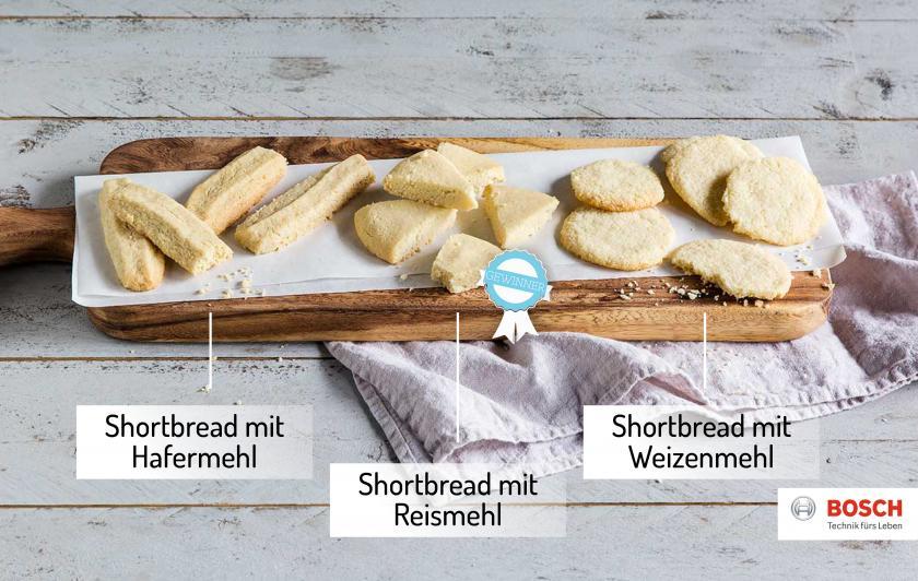 Drei verschiedene Shortbread-Rezepte nebeneinander