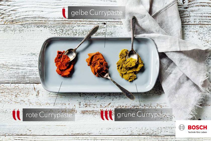 Grafik für Thai Curry zu drei Currypasten.