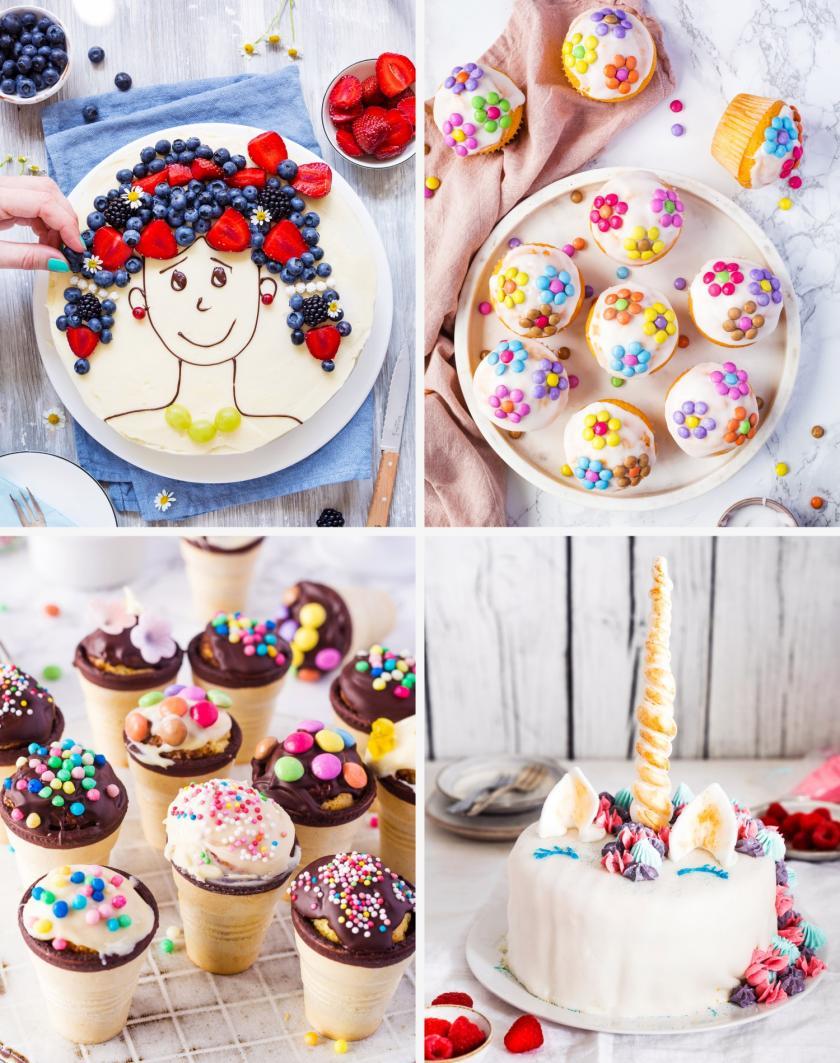 Vier verschiedene Kuchen als Collage für den Kindergeburtstag.