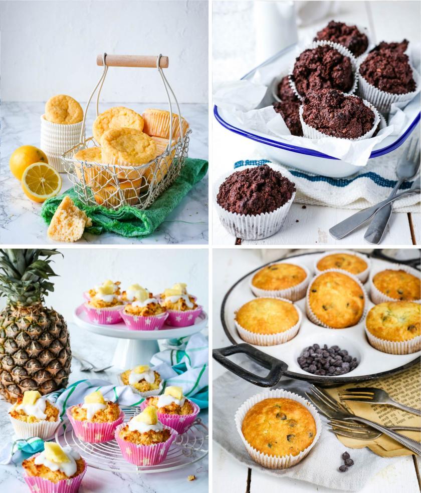 Low carb Muffins mit Schokolade, Ananas, Zitrone und Quark
