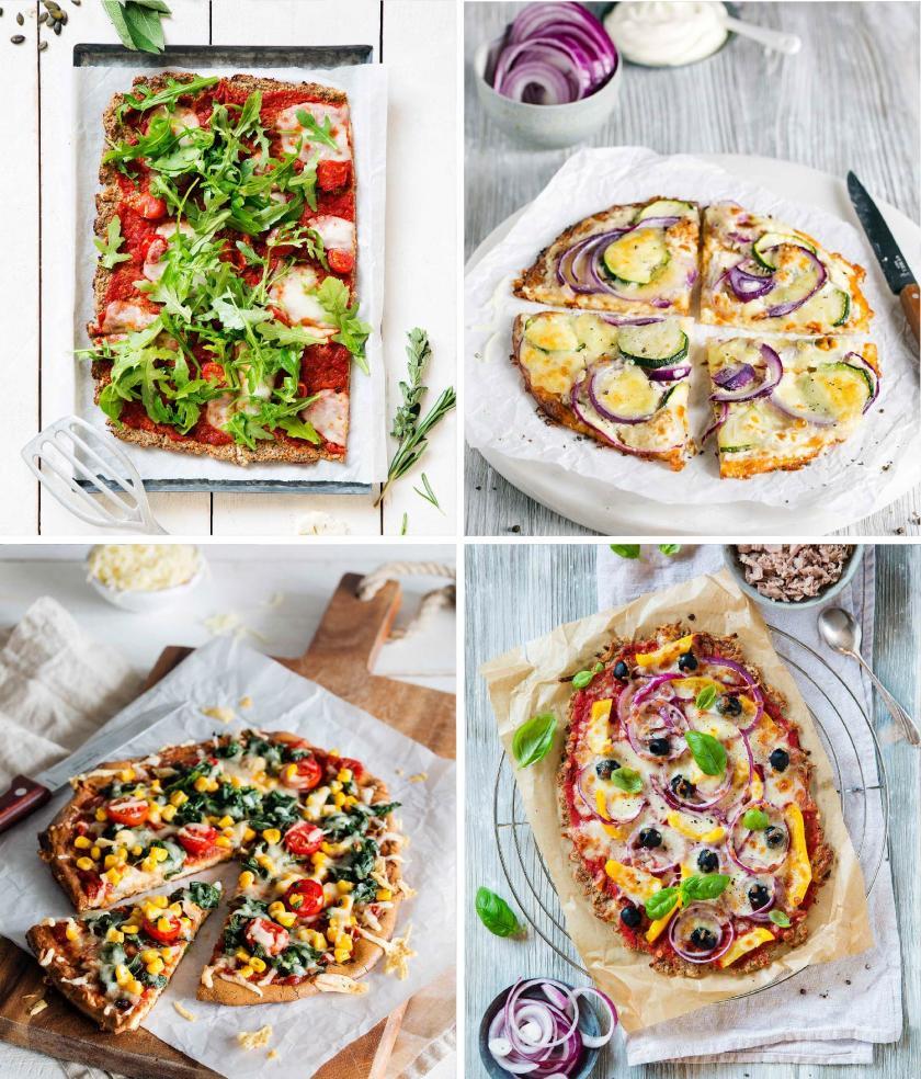 Low Carb Pizza mit verschiedenen Böden: Blumenkohl, Thunfisch, Käse und Quark
