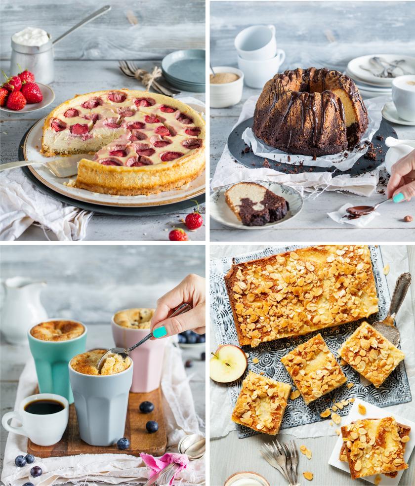 Vier Bilder verschiedener Low Carb Kuchen in einem Bild zusammengefügt.