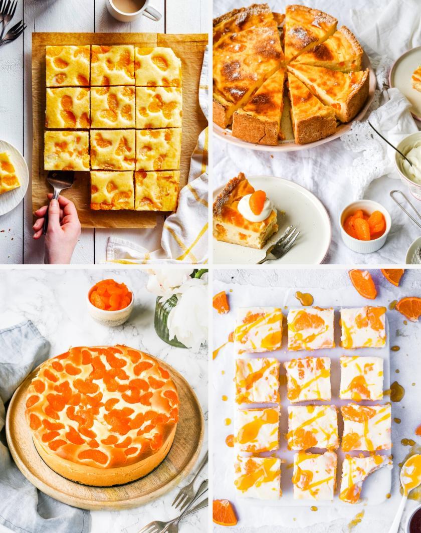 Collage mit vier verschiedenen Mandarinenkuchen