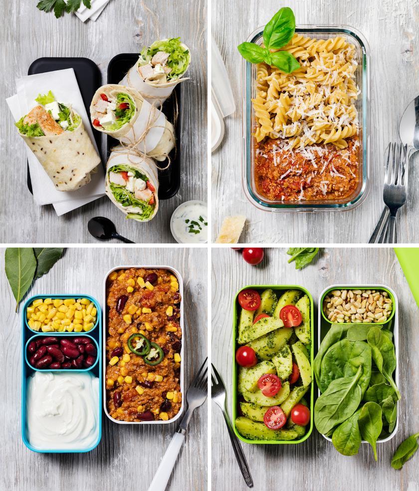Vier Bilder in einem Bild zusammengefügt zum Thema Meal Prep Wochenplan.