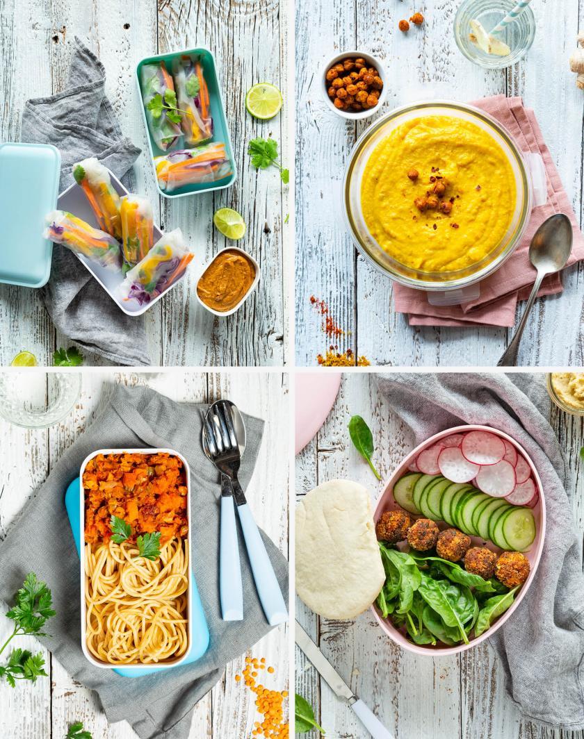 Titelbild aus 4 verschiedenen Bildern zum Meal Prep Wochenplan vegan.