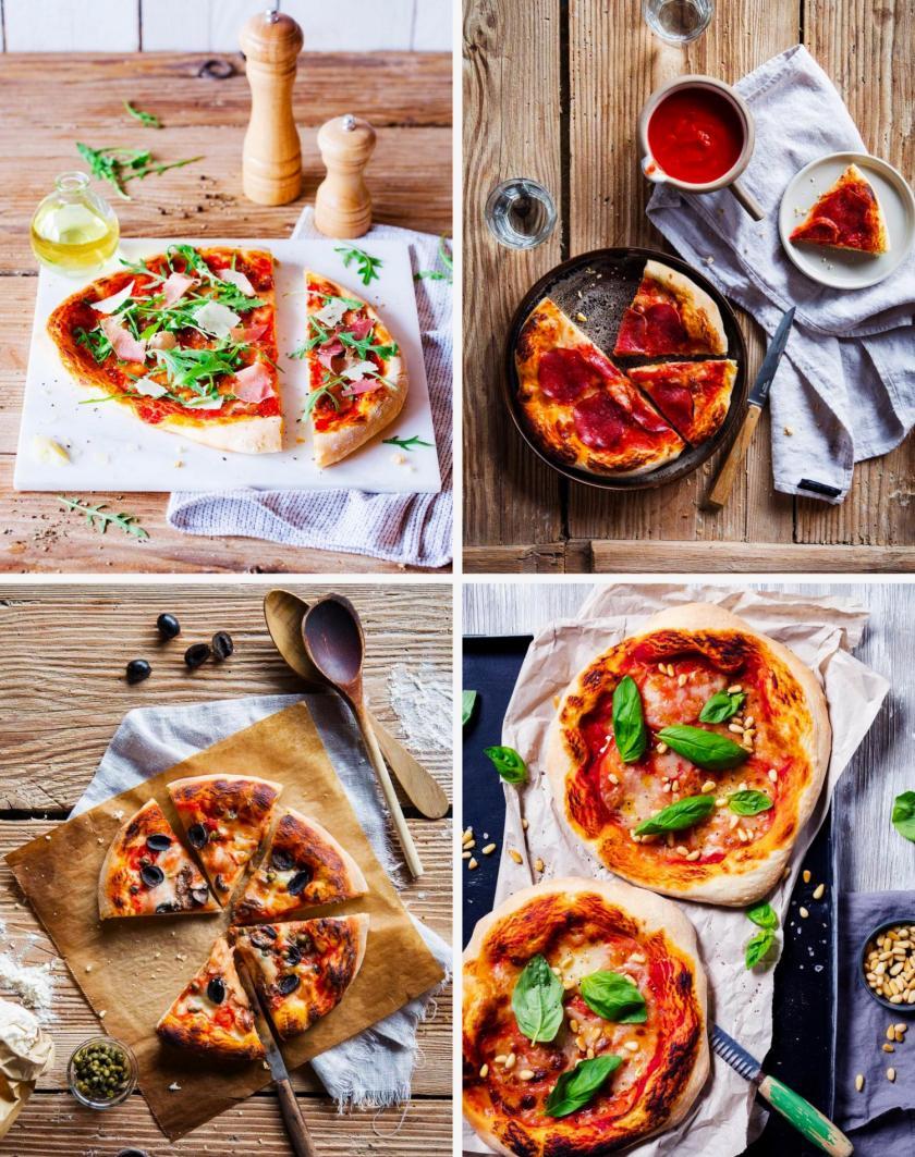 Vier verschiedene Pizzabeläge als Collage.