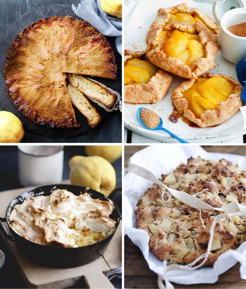 Vier Bilder von Quittenkuchen in einem Bild vereint.