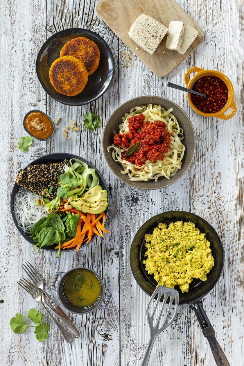 Verschiedene Tofu Rezepte zubereitet auf einem Bild angeordnet.
