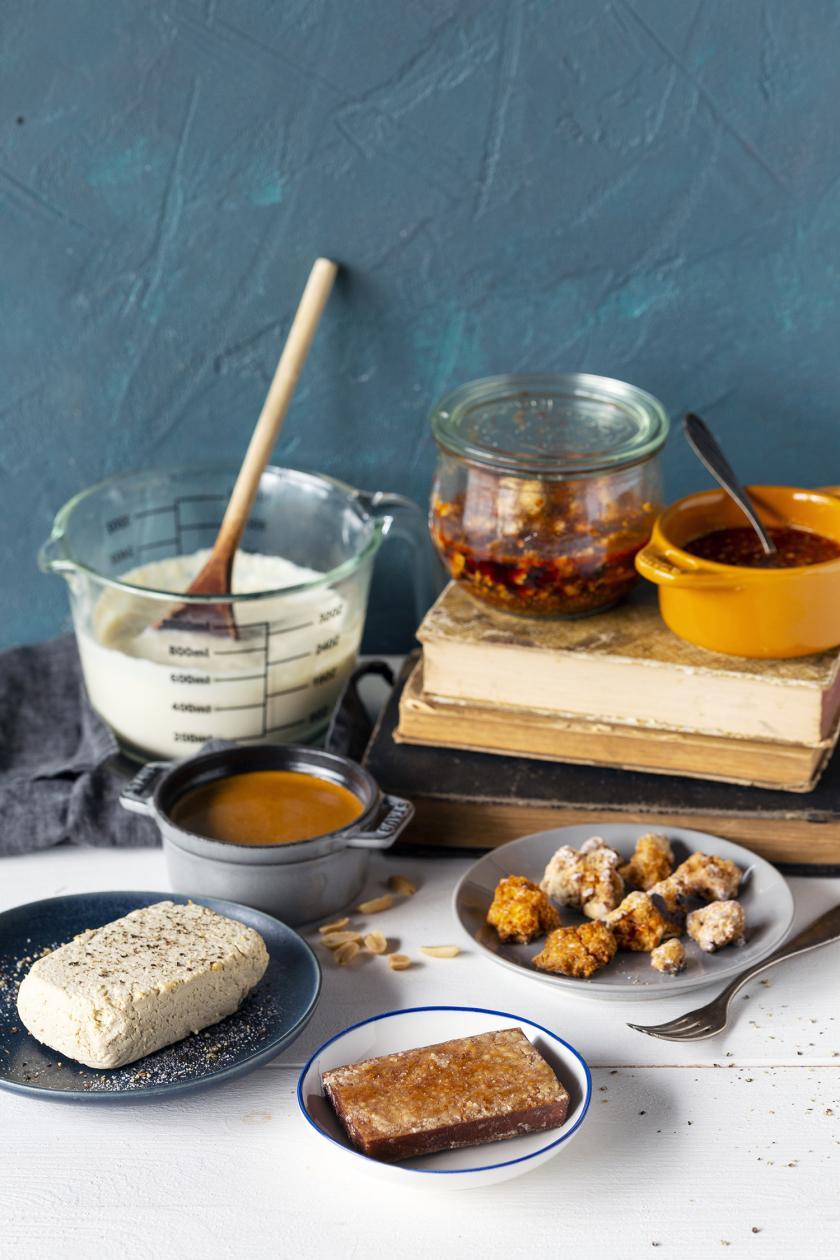 Übersichtsbild zu Tofu zubereiten und die verschiedenen Tofu-Sorten.